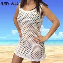 Vestido Saída De Praia Banho Verão Tricô Crochê Blusa