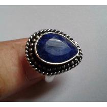 Anel Feminino Prata 925 Indiana Pedra Safira Natural Aro 18