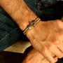 Bracelete Masculino Couro Ouro Velho Fecho Cardin Design