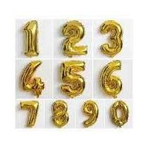 Balão Números Metalizado Dourado 1 Metro Gigante,frete 10,00