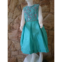 Vestido Infantil Festa Casamento Luxo Tafetá E Renda Verde