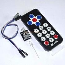 Kit Controle Remoto Ir Arduino + Cabo Led Receptor Bateria