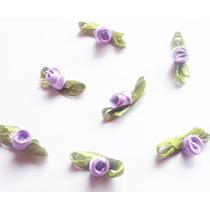 Mini Rosa Flor Rococó De Cetim - Várias Cores - 100 Unidades