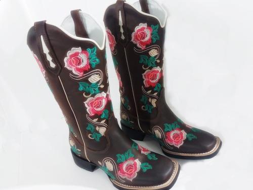 352590c08 Bota Country Feminina Texana Flores Couro Leg. Elpy