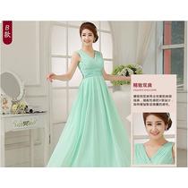 Vestido De Honra Verde Chiffon