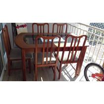 Mesa De Madeiracom Tampão De Vidro Com Seis Cadeiras Estofa