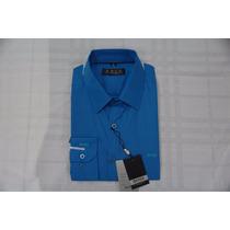 Camisa Social Masculina Hugo Boss Cor Azul Aço