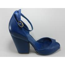 Sandália Feminina Salto Grosso Quadrado Couro Azul Schutz 35