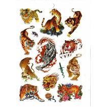 Kit Com 70 Tatuagem Temporária Dragão Tigre Frete Grátis