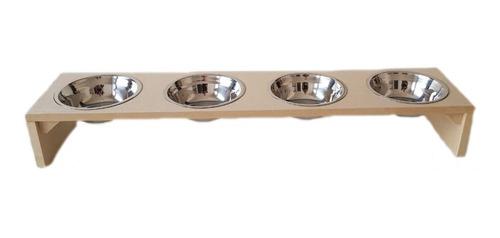 Comedouro Com 4 Potes Inox300 Ml P Cachorro E Gato Mdf 15mm