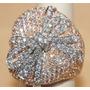 Lindo Anel Pavê Grande Laço Em Ouro 18 K Mais Diamantes