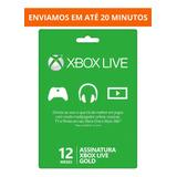 Cartão Xbox Live Gold 12 Meses 1 Ano Código 25 Digitos