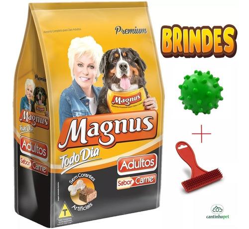 Ração Magnus Premium Carne Todo Dia 25kg Adulto + Brinde