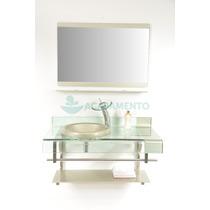 Gabinete De Vidro Bege 90 Cm Banheiro