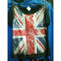 Babylook Inglaterra Reino Unido Bandeira Malha Poliviscose
