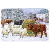 Vacas E Ovelhas Na Cozinha De Neve Ou Bath Mat 24x36 Asa2207