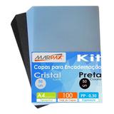 Kit Capa De Encadernação Preta Couro + Cristal Line 500un