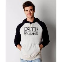 Blusa Led Zeppelin Raglan Moletom Canguru Com Capuz