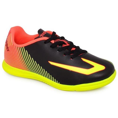f0821a2f08 Tênis Futsal Infantil Topper Ultra Preto amarelo