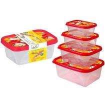 Kit 4 Potes De Plástico Organizador Comida Sem Bpa, Atoxico