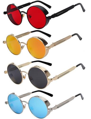 Óculos De Sol Redondo Retrô Vintage Steampunk - Várias Cores 7acbac9bc4