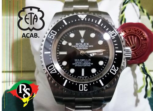 6cab7a78da5 Relogio Rolex Acab Eta Top Deepsea Preto V7 Ceramica Lxrs