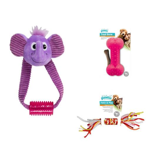 Kit 3 Brinquedos Pelúcia E Mordedores P/ Cachorro Pawise