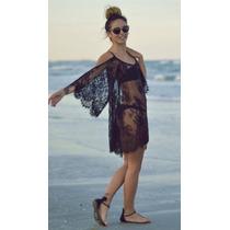 Bata Vestido Praia Vestidinho Renda Verão Preto Chique Luxo