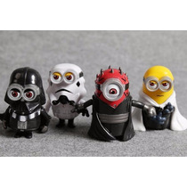4 Bonecos Minions Star Wars Luke Skywalker, Darth Vader Pvc