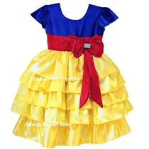 Vestido Fantasia De Festa Infantil Branca De Neve Com Tiara