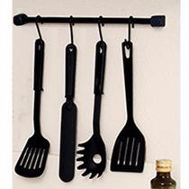Barra 61cm P/ Utensilios Cozinha Suporte Talheres 4 Ganchos