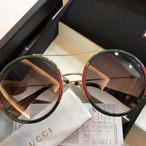 5b0d8be29 Óculos Gucci Round Verde E Vermelho Com Ce Ori Novo Original