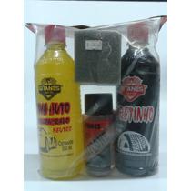 Kit Limpeza Automotivo Shampoo+limpa Pneus+silicone+flanela