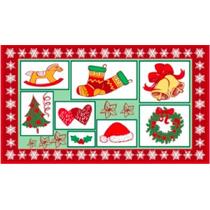 Tapete Natal 40cm X 70cm Vermelho Estampa
