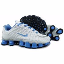 Tenís Nike Shox Tlx 12 Molas Branco E Azul Bb Original