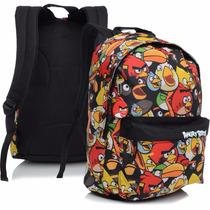Mochila Escolar Costas Angry Birds Tam(g)-carinhas Colorida
