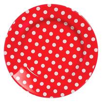 Conjunto 6 Pratos Rasos Em Cerâmica Summer Vermelho