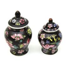 Conjunto De 2 Potes Fabricados Em Porcelana Chinesa Decorada