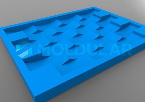 Forma Placa Gesso 3d / Silicone. Modelo Tijolinho Concavo P
