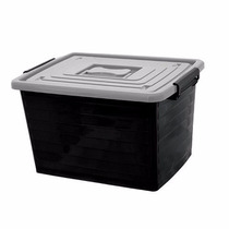 Kit 2 Caixa Plástica Organizadora Preta Com Tampa 50 Litros