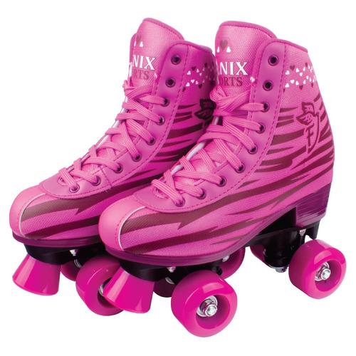 Patins 4 Rodas Clássico Rosa Menina 34a39 Roller Skate