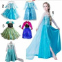 Vestido Fantasia Frozen Elza Azul Com Calda Gelo Kit Festa
