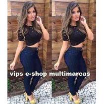 Kit Calça E Short Jeans Cintura Alta Hot Pants Promoção