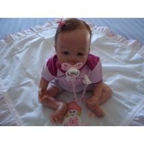 Bebê Reborn Lara Cabelos Castanho E Olhos Verdes