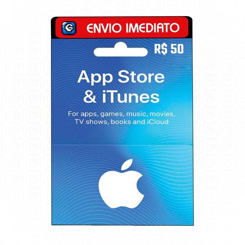Cartão Gift Card App Store R$ 50 Reais - Itunes Apple Brasil