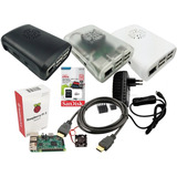 Kit Raspberry Pi3 B, Fonte, Case, Dissipadores, Hdmi E 32gb