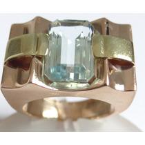 Feliz Joias- Anos 50/60 - Água Marinha Em Lindo Anel De Ouro