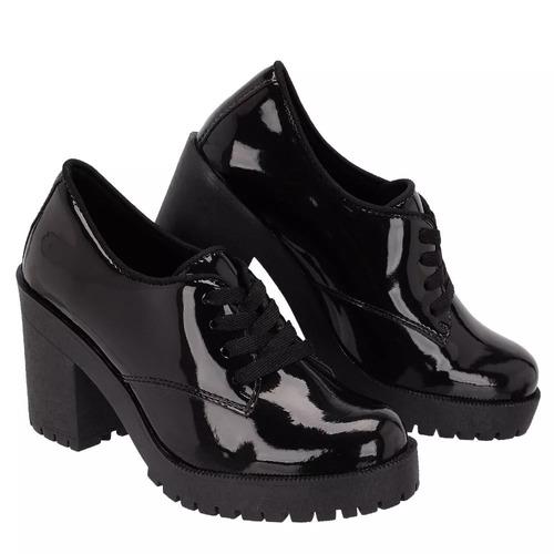 e58799309 Sapato Feminino Oxford Salto Tratorado Preto Verniz