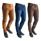 Kit 3 Calças Jeans Sarja Masculina Skinny C/ Lycra Coloridas