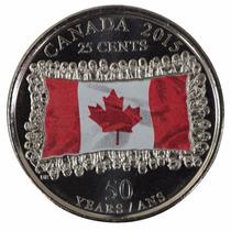 Colorida Canadá 2015 50 Anos Bandeira Quarter Dollar Fc